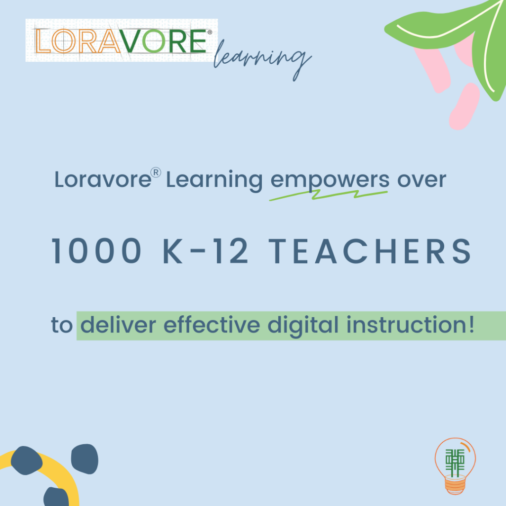 LoravoreⓇ Learning empowers over 1000 K-12 teachers to deliver effective digital instruction!